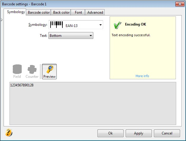 barcode Check digit automatically calculated