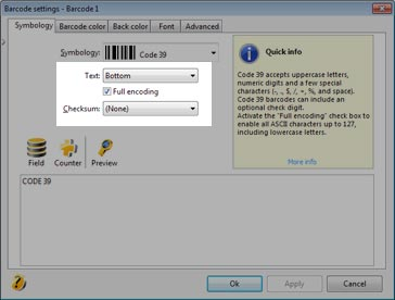 Settings of barcode 39 to generate