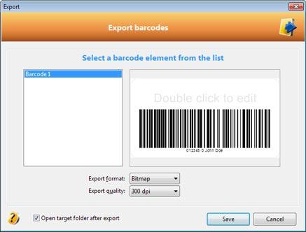 Exporting barcode